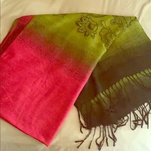 Green and pink pashmina
